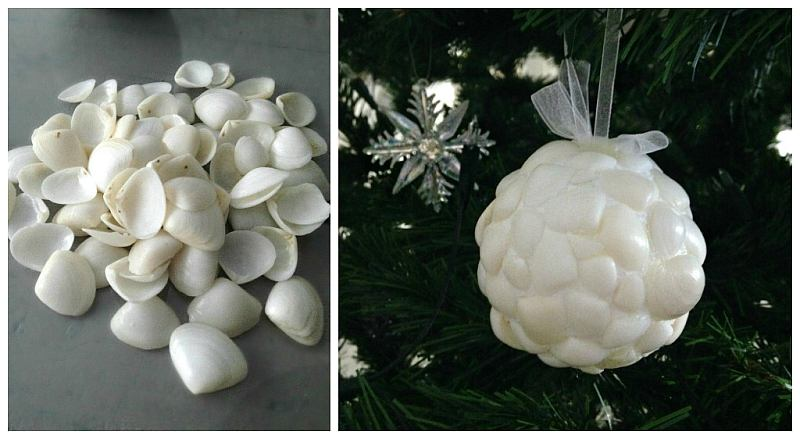 simple thoughts diy schelpen kerstbal cadeau