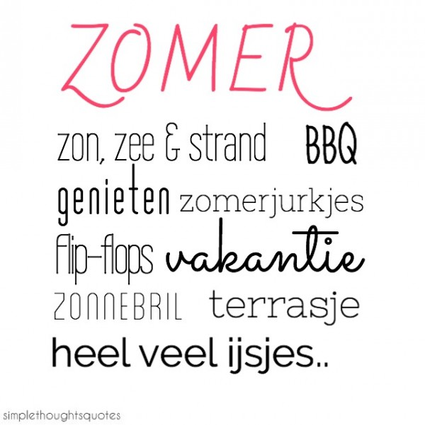 simple thoughts yes, zomer quote